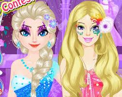elsa vs barbie make up game