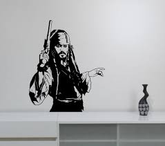 Captain Jack Sparrow Wall Sticker Vinyl Decal Pirates Of The Etsy