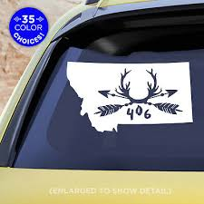 Montana 1 Or 2 Color Decal With Arrows Antlers And Mt 406 Rustic Rugged Ebay