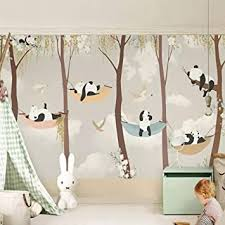 Amazon Com Ycry Wallpaper Custom Mural Wallpaper 3d Cartoon Cute Panda Tree Photo Wall Painting Kids Bedroom Home Decor Background Wall Paper For Walls 3d Wall Mural Wall Decoration 280x200cm Baby