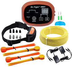 Amazon Com Dr Tiger 1 Receiver Electric Dog Fence With Rechargeable Shock Collar Wire In Ground Dog Or Cat Containment Fence System W01 G3 Coffee Pet Supplies