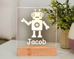 Robot Night Light Etsy