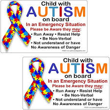 Amazon Com Child With Autism On Board Bumper Stickers 2 Pack Kitchen Dining