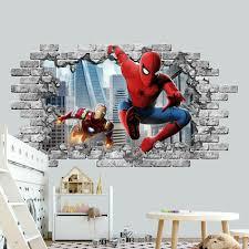 3d Spiderman Wall Sticker Boys Room Wall Decal Superhero Nursery Vinyl Mural Ebay