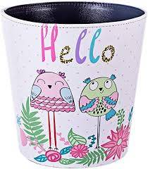 Amazon Com Ruiyif Deskside Wastebasket Farmhouse Decorative Trash Can Without Lid Pu Leather Waste Bin Bathroom Kitchen Office Bedroom Garbage Can For Kids Room Recycling And Storage Owl Home Kitchen