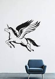 Amazon Com Wall Decals Decor Viny Pegasus Wings Flying Mythical Creature Magic Unicorn Horn Ornament Beard Pattern Horse Mane Performed Tale Dreams Lm0524 Home Kitchen
