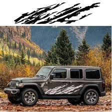 Jeep Wrangler Body Side Panel Decal Sticker Set Of 2 Aftermarket Replacement Non Factory Custom Sticker Shop