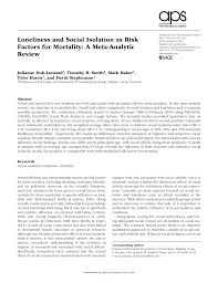 pdf loneliness and social isolation as