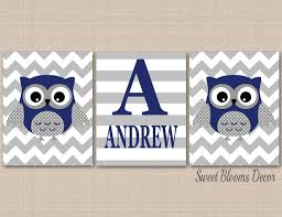 Owl Nursery Wall Art Navy Gray Owl Wall Art Owl Nursery Decor Blue Gra Sweet Blooms Decor