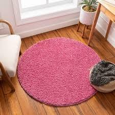 Solid Retro Modern Pink Shag Area Rug Plain Plush Easy Care Thick Soft Plush Living Room Kids Bedroom Walmart Com Walmart Com