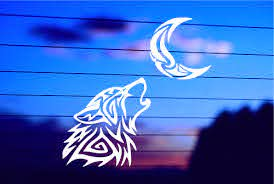 Wolf Howling At The Moon Car Decal Sticker