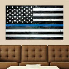 American Flag Thin Blue Line Police Distressed Wood Wall Decal Sticker Graphic Ebay