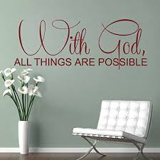 Amazon Com Bible Wall Decal Christian Wall Quote Religious Wall Sticker Words Vinyl Home Art Decor With God All Things Are Possible Black Home Kitchen