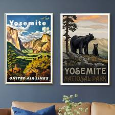 America Yosemite National Park Travel Canvas Painting Vintage Wall Kraft Posters Coated Wall Stickers Home Decorative Pictures Painting Calligraphy Aliexpress