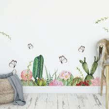 Hot Price 9e818e Butterfly Cactus Wall Stickers For Living Room Bedroom Wall Decor Removable Vinyl Pvc Wall Decals Art Diy Murals Home Decoration Cicig Co