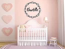 Amazon Com Vinyl Sticker Charlotte Girl Floral Name Font Type Kids Room Nursery Mural Decal Wall Art Decor Eh3895 Handmade
