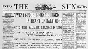 Image result for 1904 Baltimore fire, damages records