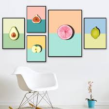Color Avocado Lemon Apple Mangosteen Wall Art Canvas Painting Nordic Posters And Prints Wall Pictures Baby Kids Room Decor Painting Calligraphy Aliexpress