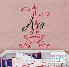 Amazon Com Personalized Eiffel Tower Vinyl Wall Decal Sticker Handmade