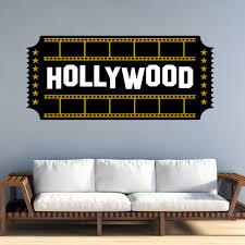Vwaq Hollywood Ticket Wall Decal Movie Room Decor Ht1 P Walmart Com Walmart Com