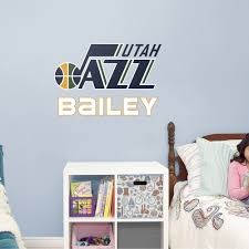 Utah Jazz Stacked Personalized Name White Giant Nba Transfer Decal Utah Jazz Name Wall Decals Utah