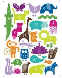 The Best Sales For Abc Animalia By Ampersand Design Studio Canvas Wall Decal Oopsy Daisy Color Rainbow