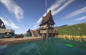 Wallpaper The Sky Grass Water Clouds Flowers House River Shore The Fence Pier Lily House Minecraft Images For Desktop Section Igry Download