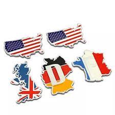 3d Chrome Metal Map Car Decal Sticker Usa Uk France Germany Carsoda