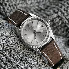 brown textured calf leather watch band