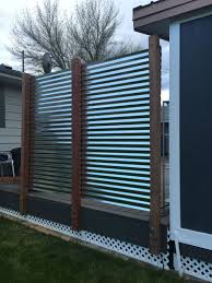 Corrugated Metal Privacy Fence Modern Design In 2020 Metal Fence Panels Privacy Screen Outdoor Backyard Fences