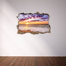 3d Through Wall Fabric Sticker Wall Decal Sunset On Caribbean Sea P Royalwallskins