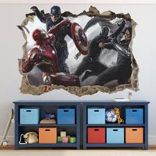 Avengers 3d Wall Decal Marvel Wall Sticker Removable Vinyl Etsy