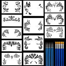 12 pack face painting stencils safe