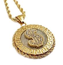 18k gold plated dollar symbol medallion