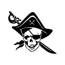Pirate Skull Sword Vinyl Sticker