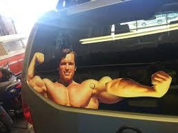 Arnold Schwarzenegger Flexing Rear Window Wiper Decal