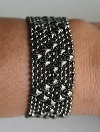 small diamonds black mesh bracelet