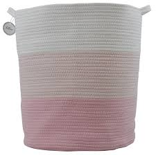 Amazon Com Cotton Rope Basket For Storage And Organization In Baby Nursery Or Kids Room Extra Large 18 X 16 Decorative Laundry Hamper Organizer For Blankets Towels Toys Books Pink White Baby