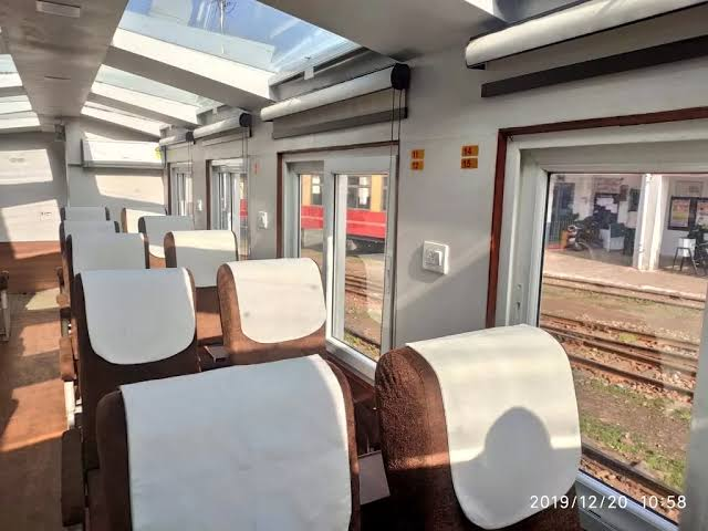 Image result for Him Darshan Express with Vistadome coaches (glass roof top)""