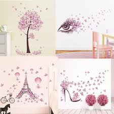 New Pink Butterfly Flower Tree Wall Stickers Decals Girls Women Flower Mural Vinyl Wallpaper Home Living Room Bedroom Decor Wall Decal Decorations Wall Decal Design From Qiqihaercc 23 16 Dhgate Com