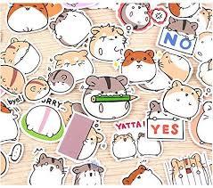 40 Cute Pieces Waterproof Hamster Kawaii Stationary Japanese Vinyl Stickers For Kids Craft Laptop Water Bottles A Flower In Japan