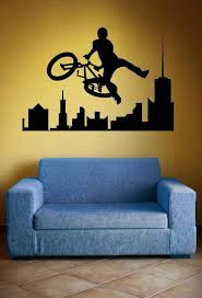 Bmx Bike Skyline Decal City Bike Bicycle Extreme Sports Etsy In 2020 Kids Bedroom Decor Wall Decals Dorm Decorations