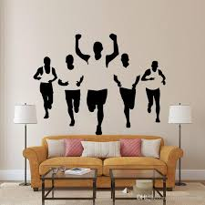 Five Athletes Wall Stickers Living Room Bedroom Office Walking Sportsman Wall Decal Home Decor Wall Applique Wallpaper Poster For Wall Decor Large Stickers For Walls Large Vinyl Wall Decals From Magicforwall 8 55