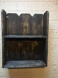 Shelf Made From Cedar Fence Pickets It Has Two Shelves Approximately 10 Apart The Size Is Approximat Picket Fence Crafts Cedar Fence Pickets Wood Wall Shelf