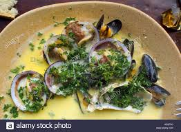 Seafood platter with butter sauce and ...