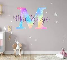 Amazon Com Girls Nursery Shimmer Rainbow Printed Initial And Stars Custom Personalized Name And Initial Vinyl Wall Decal Decor For Babies Wall Sticker Small Kitchen Dining