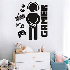 Amazon Com Gamer Wall Decals For Boys Room Creative Game Wall Sticker For Kids Room Boys Playroom Bedroom Decor Arts Crafts Sewing
