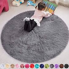 Amazon Com Pagisofe 4x4 Area Rug Round Grey Rug Circle Rugs For Kids Bedroom Fluffy Carpets And Shaggy Rugs Small Teepee Furry Mat Comfy Reading Rug Circular Rug 4x4 Rugs For Girls Boys