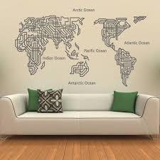 World Map Wall Decal Home Decor World Map Wall Sticker Wall Decor Ellaseal