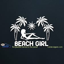 Tropical Girl At The Beach Car Window Decal Sticker